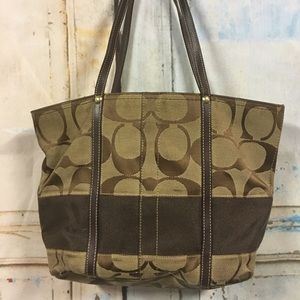 Small brown coach bag needs tlc